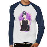 Sidney Maurer Original Portrait Of Audrey Hepburn Mens Baseball Long Sleeved T-Shirt - Mens Baseball Long Sleeved T-Shirt