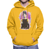 Sidney Maurer Original Portrait Of Audrey Hepburn Mens Hooded Sweatshirt - Small / Gold - Mens Hooded Sweatshirt