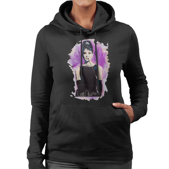 Sidney Maurer Original Portrait Of Audrey Hepburn Womens Hooded Sweatshirt - Womens Hooded Sweatshirt