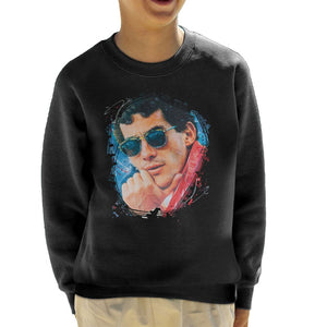 Sidney Maurer Original Portrait Of Ayrton Senna Kids Sweatshirt - Kids Boys Sweatshirt