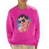 Sidney Maurer Original Portrait Of Ayrton Senna Kids Sweatshirt - X-Small (3-4 yrs) / Hot Pink - Kids Boys Sweatshirt