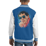 Sidney Maurer Original Portrait Of Ayrton Senna Kids Varsity Jacket - X-Small (3-4 yrs) / Royal/White - Kids Boys Varsity Jacket