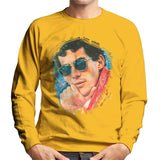 Sidney Maurer Original Portrait Of Ayrton Senna Mens Sweatshirt - Small / Gold - Mens Sweatshirt