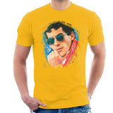 Sidney Maurer Original Portrait Of Ayrton Senna Mens T-Shirt - Small / Gold - Mens T-Shirt