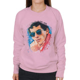 Sidney Maurer Original Portrait Of Ayrton Senna Womens Sweatshirt - Small / Light Pink - Womens Sweatshirt