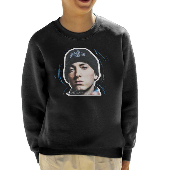 Sidney Maurer Original Portrait Of Eminem Shady Hat Kids Sweatshirt - Kids Boys Sweatshirt