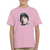 Sidney Maurer Original Portrait Of Eminem Shady Hat Kids T-Shirt - X-Small (3-4 yrs) / Light Pink - Kids Boys T-Shirt