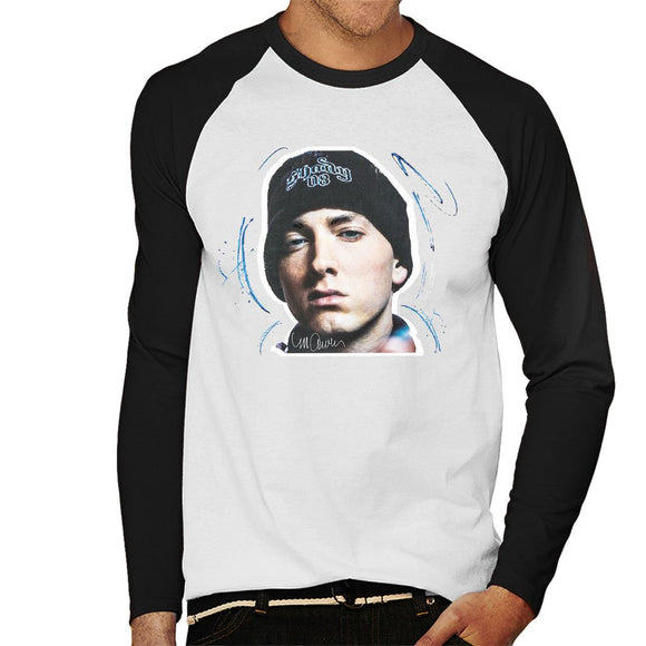 Sidney Maurer Original Portrait Of Eminem Shady Hat Mens Baseball Long Sleeved T-Shirt - Mens Baseball Long Sleeved T-Shirt