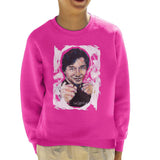 Sidney Maurer Original Portrait Of Jackie Chan Kids Sweatshirt - X-Small (3-4 yrs) / Hot Pink - Kids Boys Sweatshirt