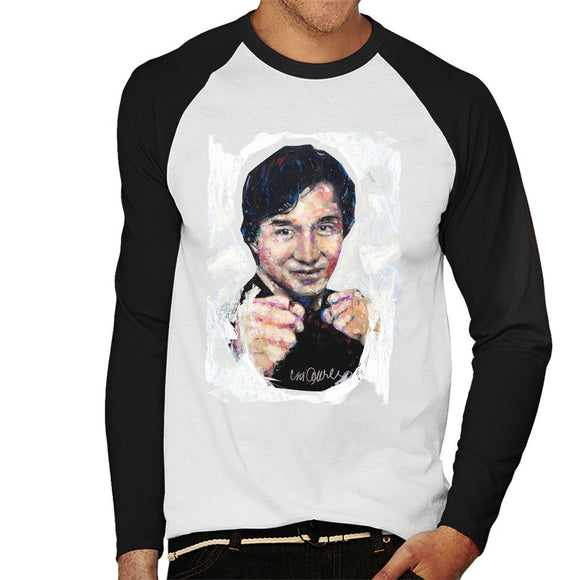 Sidney Maurer Original Portrait Of Jackie Chan Mens Baseball Long Sleeved T-Shirt - Mens Baseball Long Sleeved T-Shirt