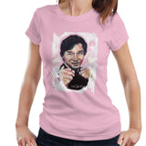 Sidney Maurer Original Portrait Of Jackie Chan Womens T-Shirt - Small / Light Pink - Womens T-Shirt