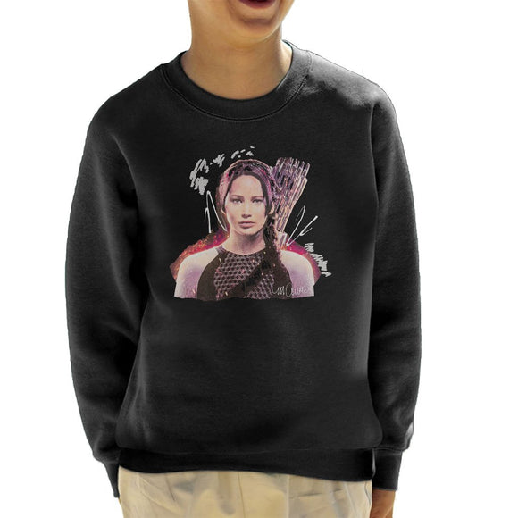Sidney Maurer Original Portrait Of Jennifer Lawrence Hunger Games Kids Sweatshirt - Kids Boys Sweatshirt