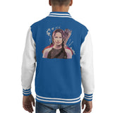 Sidney Maurer Original Portrait Of Jennifer Lawrence Hunger Games Kids Varsity Jacket - X-Small (3-4 yrs) / Royal/White - Kids Boys Varsity