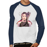 Sidney Maurer Original Portrait Of Jennifer Lawrence Hunger Games Mens Baseball Long Sleeved T-Shirt - Mens Baseball Long Sleeved T-Shirt