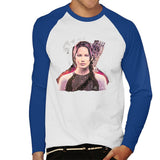 Sidney Maurer Original Portrait Of Jennifer Lawrence Hunger Games Mens Baseball Long Sleeved T-Shirt - Small / White/Royal - Mens Baseball