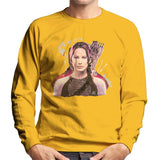 Sidney Maurer Original Portrait Of Jennifer Lawrence Hunger Games Mens Sweatshirt - Small / Gold - Mens Sweatshirt