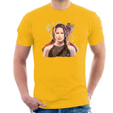 Sidney Maurer Original Portrait Of Jennifer Lawrence Hunger Games Mens T-Shirt - Small / Gold - Mens T-Shirt
