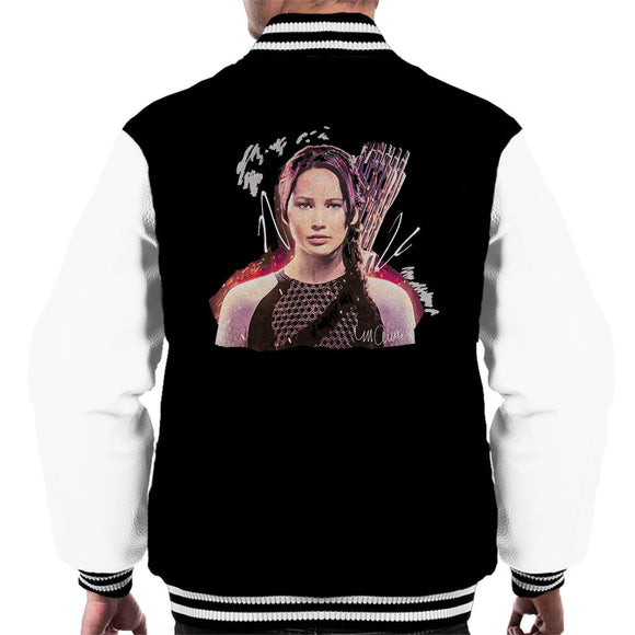 Sidney Maurer Original Portrait Of Jennifer Lawrence Hunger Games Mens Varsity Jacket - Mens Varsity Jacket