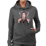 Sidney Maurer Original Portrait Of Jennifer Lawrence Hunger Games Womens Hooded Sweatshirt - Womens Hooded Sweatshirt