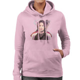 Sidney Maurer Original Portrait Of Jennifer Lawrence Hunger Games Womens Hooded Sweatshirt - Small / Light Pink - Womens Hooded Sweatshirt