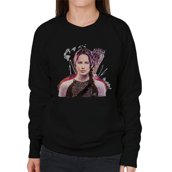 Sidney Maurer Original Portrait Of Jennifer Lawrence Hunger Games Womens Sweatshirt - Womens Sweatshirt