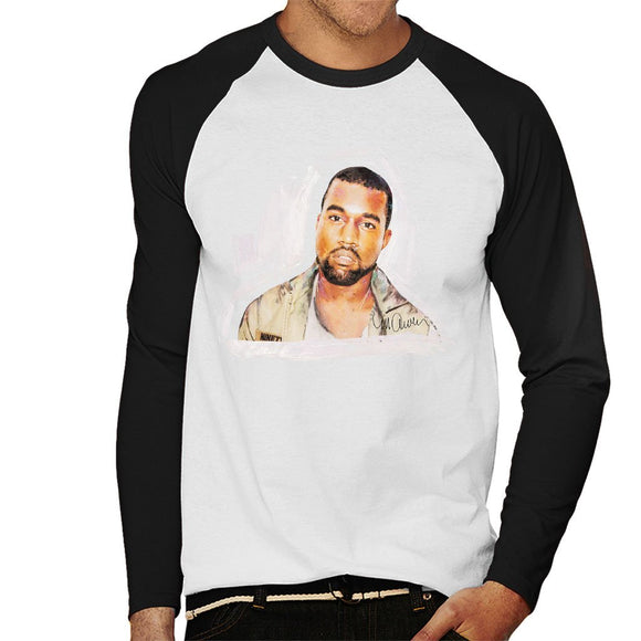 Sidney Maurer Original Portrait Of Kanye West Mens Baseball Long Sleeved T-Shirt - Mens Baseball Long Sleeved T-Shirt