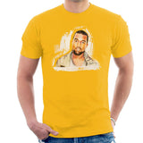 Sidney Maurer Original Portrait Of Kanye West Mens T-Shirt - Small / Gold - Mens T-Shirt
