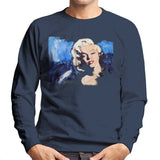 Sidney Maurer Original Portrait Of Marilyn Monroe Blonde Bombshell Mens Sweatshirt - Small / Navy Blue - Mens Sweatshirt