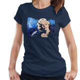 Sidney Maurer Original Portrait Of Marilyn Monroe Blonde Bombshell Womens T-Shirt - Small / Navy Blue - Womens T-Shirt