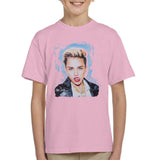 Sidney Maurer Original Portrait Of Miley Cyrus Licking Lips Kids T-Shirt - X-Small (3-4 yrs) / Light Pink - Kids Boys T-Shirt