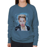 Sidney Maurer Original Portrait Of Miley Cyrus Licking Lips Womens Sweatshirt - Womens Sweatshirt