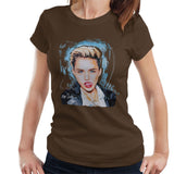 Sidney Maurer Original Portrait Of Miley Cyrus Licking Lips Womens T-Shirt - Womens T-Shirt