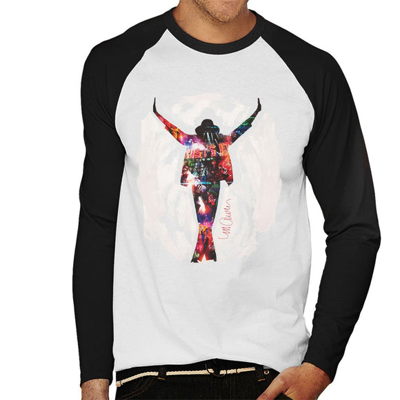 Sidney Maurer Original Portrait Of Michael Jackson This Is It Mens Baseball Long Sleeved T-Shirt - Mens Baseball Long Sleeved T-Shirt