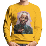 Sidney Maurer Original Portrait Of Nelson Mandela Mens Sweatshirt - Small / Gold - Mens Sweatshirt