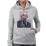 Sidney Maurer Original Portrait Of Nelson Mandela Womens Hooded Sweatshirt - Womens Hooded Sweatshirt