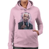 Sidney Maurer Original Portrait Of Nelson Mandela Womens Hooded Sweatshirt - Small / Light Pink - Womens Hooded Sweatshirt