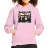 Sidney Maurer Original Portrait Of Queen Union Jack Kids Hooded Sweatshirt - X-Small (3-4 yrs) / Light Pink - Kids Boys Hooded Sweatshirt