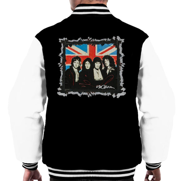 Sidney Maurer Original Portrait Of Queen Union Jack Mens Varsity Jacket - Mens Varsity Jacket