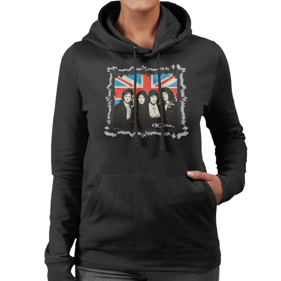 Sidney Maurer Original Portrait Of Queen Union Jack Womens Hooded Sweatshirt - Womens Hooded Sweatshirt