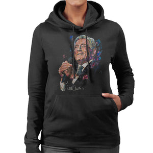 Sidney Maurer Original Portrait Of Tony Bennett Womens Hooded Sweatshirt - Womens Hooded Sweatshirt