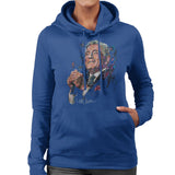 Sidney Maurer Original Portrait Of Tony Bennett Womens Hooded Sweatshirt - Small / Royal Blue - Womens Hooded Sweatshirt
