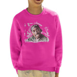 Sidney Maurer Original Portrait Of Tupac Shakur Kids Sweatshirt - X-Small (3-4 yrs) / Hot Pink - Kids Boys Sweatshirt