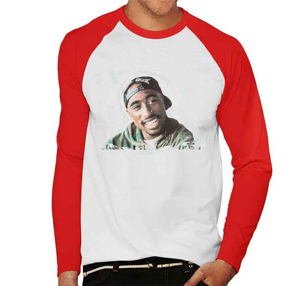 Sidney Maurer Original Portrait Of Tupac Shakur Mens Baseball Long Sleeved T-Shirt - Mens Baseball Long Sleeved T-Shirt