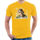 Sidney Maurer Original Portrait Of Tupac Shakur Mens T-Shirt - Small / Gold - Mens T-Shirt