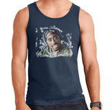 Sidney Maurer Original Portrait Of Tupac Shakur Mens Vest - Small / Navy Blue - Mens Vest