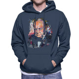 Sidney Maurer Original Portrait Of Winston Churchill Mens Hooded Sweatshirt - Small / Navy Blue - Mens Hooded Sweatshirt