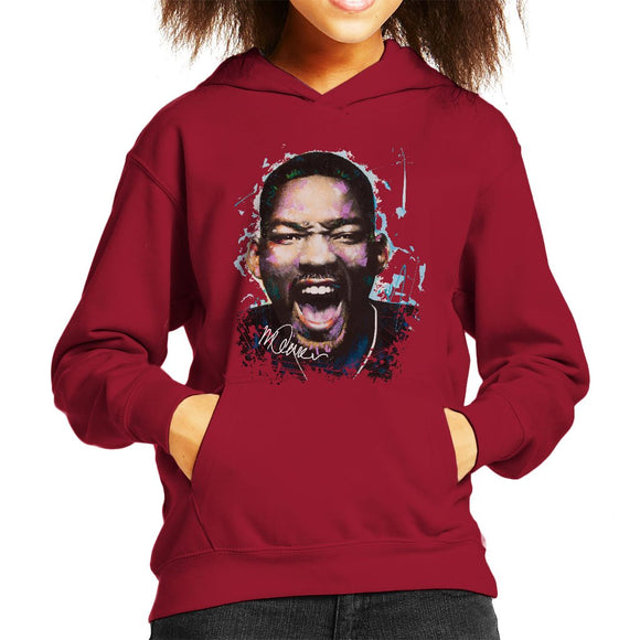 Sidney Maurer Original Portrait Of Will Smith Kids Hooded Sweatshirt - Kids Boys Hooded Sweatshirt