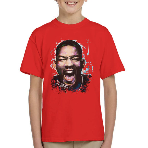 Sidney Maurer Original Portrait Of Will Smith Kids T-Shirt - Kids Boys T-Shirt
