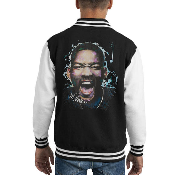 Sidney Maurer Original Portrait Of Will Smith Kids Varsity Jacket - Kids Boys Varsity Jacket