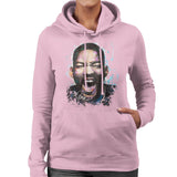 Sidney Maurer Original Portrait Of Will Smith Womens Hooded Sweatshirt - Small / Light Pink - Womens Hooded Sweatshirt